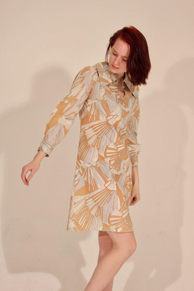 70s Dress Pattern Dress Long Sleeve Dress 70s Pattern Dress Peter Pan Collar Peach Dress Orange Dress Shift Dress Light Blue Dress