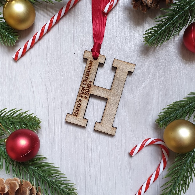 Personalised Child's First Christmas Initial  Decoration image 0