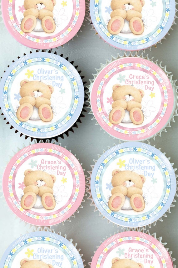 PERSONALISED PRECUT 12 EDIBLE RICE PAPER WAFER CARD PINK CHRISTENING CAKE TOPPER