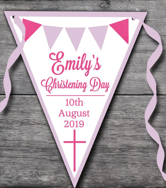 Handmade Personalised Pink Cross Girl bunting Christening party decoration