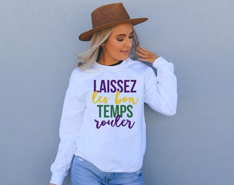 Mardi Gras Sweater, Mardi Gras T-shirt, Laissez les bon Temps Rouler, Fred's Lounge, NOLA, New Orleans, Fat Tuesday, Mardi Gras Attire