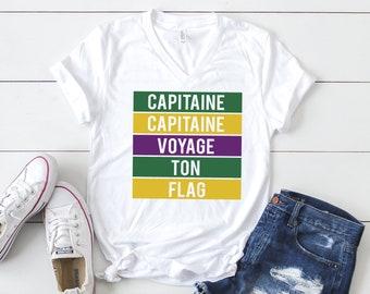 Unisex Short Sleeve V-Neck T-Shirt, Mardi Gras Shirt, Mardi Gras T-shirt, Captaine, New Orleans Mardi Gras, NOLA, Mardi Gras Attire