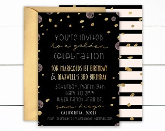 Golden Birthday, Golden First Birthday, Modern Golden Birthday, Modern Birthday Invites, Black and Gold Birthday