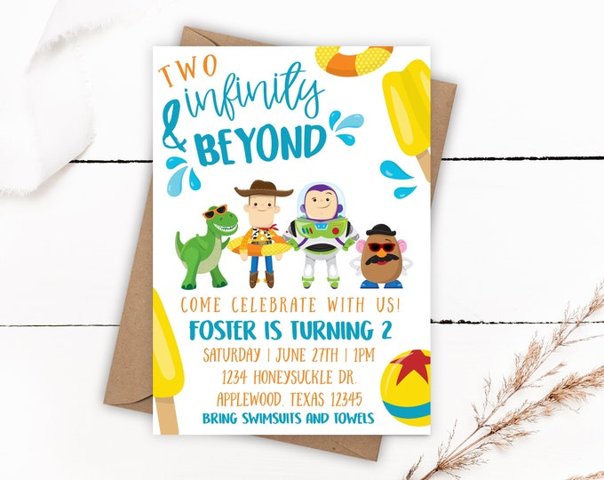 Featured listing image: Toy Story Birthday Invitations, Toy Story Pool Birthday Party, Toy Story Invitations, Pool Party Invitations, Two Infinity and Beyond