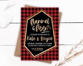 Flannel and Fizz Event Invitation, Flannel and Fizz, Bachelorette Party, Bridal Shower, Couples Shower, Holiday Party, Buffalo Plaid