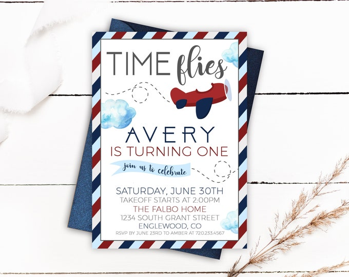 Featured listing image: Time Flies Birthday Invitation, Time Flies, Airplane Birthday, Time Fly's, First Birthday, Boy Birthday, Vintage Airplane Birthday