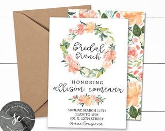 Bridal Brunch Invitations, Floral Invitations, Bridal Shower, Bridal Brunch, Printable, Downloadable