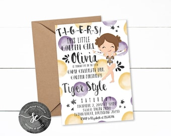 LSU Tigers Golden Girl Birthday Invitations, LSU Birthday, Golden Girl Invitations, Gold Girl Birthday, LSU Cheer, Dance, Tigers