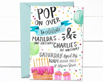 Pop On Over Birthday Invitation, Digital Invitation, Birthday, Colorful Birthday Party, Confetti Birthday Invitation