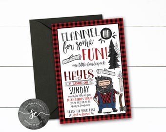 Lumberjack Birthday Invitations, First Birthday, Lumberjack Theme, Flapjacks, Flannel, Plaid, Flannel UP, Woodland, Forrest, Buffalo Plaid