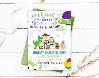 Toy Story Birthday Invitations, Toy Story Birthday Party, Toy Story Invitations, Pool Party Invitations, Two Infinity and Beyond