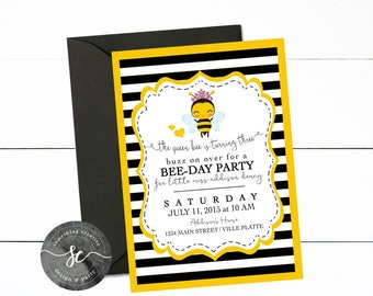Queen Bee is turning Three, Queen Bee Birthday, Girl Birthday Party, Bumble Bee Birthday, Honey Bee Invitations, Its Fun to Bee