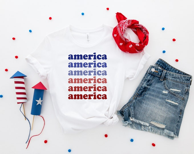 Featured listing image: Retro America Shirt, America Shirt, Womens 4th of July Shirt, Women's Fourth of July Shirt, USA Shirt, Memorial Day Shirt