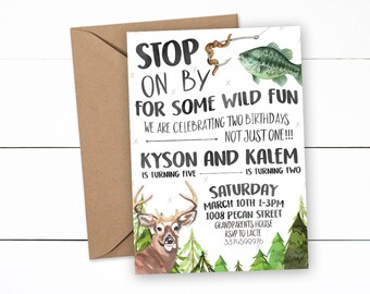 Hunting and Fishing Birthday, Deer Hunting Birthday, Deer Hunting Invitation, Fishing Birthday, Fishing Invitation, Camouflage