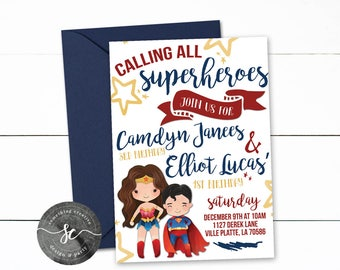 SuperHero Birthday, Dual Birthday, Justice League, Superman, WonderWoman, Girl/Boy Birthday, Calling all Superheroes