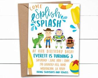 Toy Story Birthday Invitations, Toy Story Pool Birthday Party, Toy Story Invitations, Pool Party Invitations, Pool Party, Summer Birthday