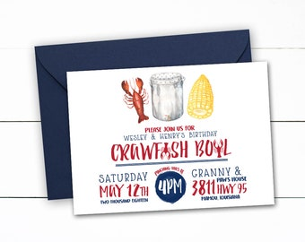 Crawfish Birthday Crawfish Boil Invitation, Crawfish Boil, Crab Boil, Crawfish Birthday, Crayfish, Mudbugs, Crawfish