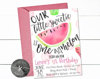 Watermelon Girl Birthday Invitations, Our Little Sweetie is One in a Melon, Melon Birthday, Watermelon Party