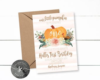 Our Little Pumpkin Birthday Invitation, Our little Turkey, Fall Birthday, Girl Birthday, First Birthday, Our Little Pumpkin is One