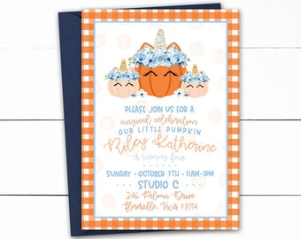 Unicorn Pumpkin Invitation, Our little Pumpkin Birthday, Unicorn Birthday, Pumpkin Birthday, Unicorn Pumpkin, Girl Fall Birthday, Pumpkin