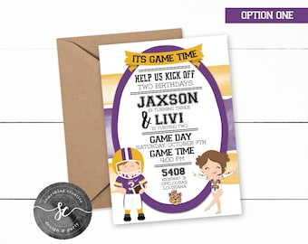 LSU Tigers Brother and Sister Birthday Invitations, LSU Birthday, Golden Girl, LSU Cheerleader Invitations, Football Invitations