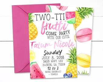 Summer Birthday, Two-Tti Frutti Invitations, Twotti Fruitti Birthday, Girls 2nd Birthday Invitations, Summer Birthday Invitations