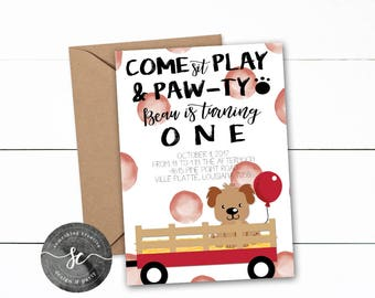 Little Puppy Birthday Invitation, Digital printable invite, Puppy and Wagon Invitation