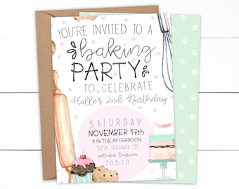 Baking Party Invitation, Baking Party, Girl Birthday, Christmas Baking Party, Little girl birthday, Birthday Invitations, Baking Birthday