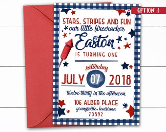4th of July Birthday, Fireworks Birthday, BBQ Birthday, July 4th Invitations, July 4th Birthday Party, BBQ Birthday Party