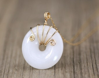 Ping buckle necklace, white Jade pendant, choker, handmade