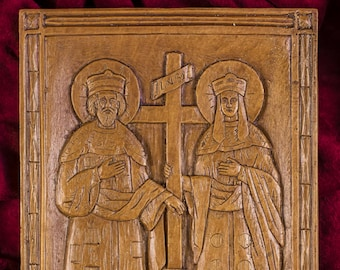 Saints Constantine and Helen Aromatic Christian Wall Icon Plaque made with pure beeswax mastic and incense