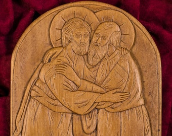 Saint Peter Embracing Saint Paul Aromatic Christian Wall Icon Plaque made with pure beeswax mastic and incense