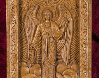 Guardian Angel Aromatic Christian Wall Icon Plaque made with pure beeswax mastic and incense