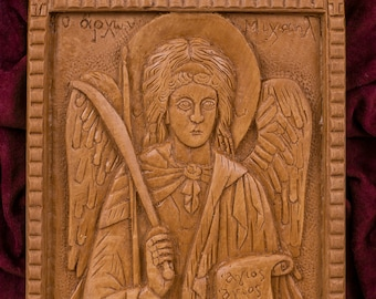 Archangel Michael Aromatic Christian Wall Icon Plaque made with pure beeswax mastic and incense