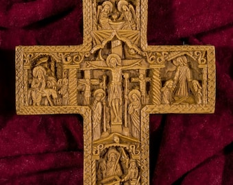 Wall Cross with details from Christ's Passion Aromatic Wall Crucifix made with pure beeswax mastic and incense