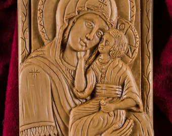 Panagia Kecharitomene Virgin Mary Madonna & Child Small Aromatic Wall Icon Plaque made with pure beeswax mastic and incense