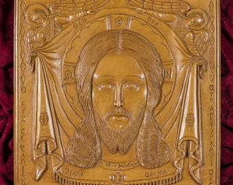 Jesus Christ Agion Mandilion with Angels Aromatic Christian Wall Icon Plaque made with pure beeswax mastic and incense