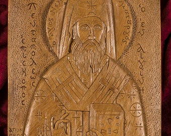 Saint Nektarios of Aegina Aromatic Christian Wall Icon Plaque made with pure beeswax mastic and incense