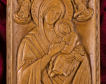 Virgin Mary Theotokos the Mighty Protection Aromatic Christian Wall Icon Plaque made with pure beeswax mastic and incense