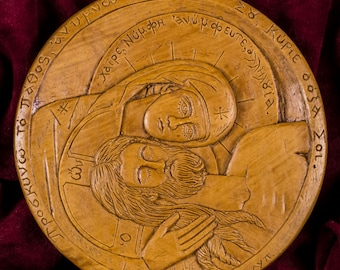 Apokathilosis Pieta Vesperbild Aromatic Christian Wall Icon Plaque made with pure beeswax mastic and incense