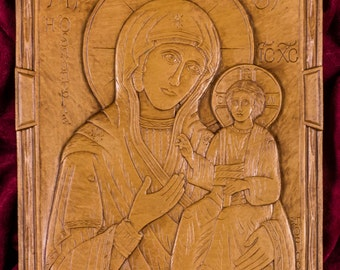 Virgin Hodegetria aka Our Lady of the Way Aromatic Christian Wall Icon Plaque made with pure beeswax mastic and incense