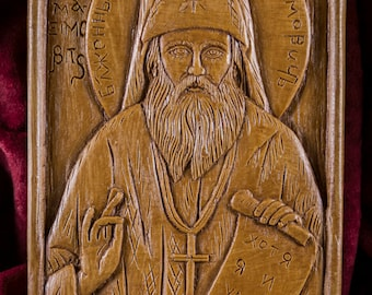 Saint John Maximovitch Aromatic Christian Wall Icon Plaque made with pure beeswax mastic and incense