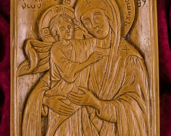 Virgin Mary Theotokos Our Lady Apolitrosis Aromatic Christian Wall Icon Plaque made with pure beeswax mastic and incense