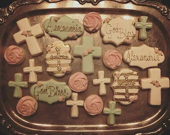 Baptism - Decorated Sugar Cookies - 1 Dozen