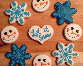 Let it Snow - Decorated Sugar Cookies - 1 dozen