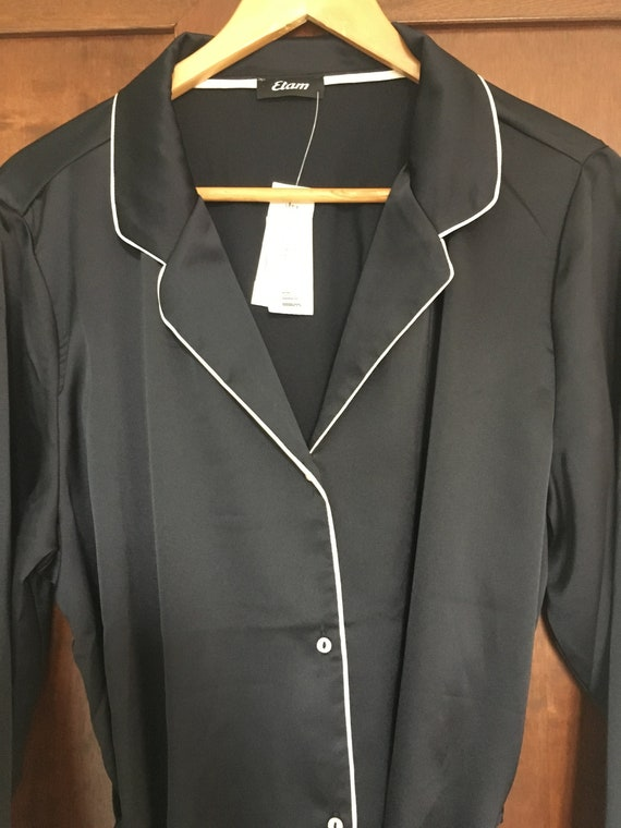 Black Satin Night Shirt Size XL