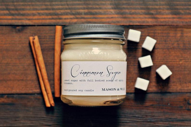 Cinnamon Sugar  Mason Jar Candle  Soy Candle  Cinnamon image 0