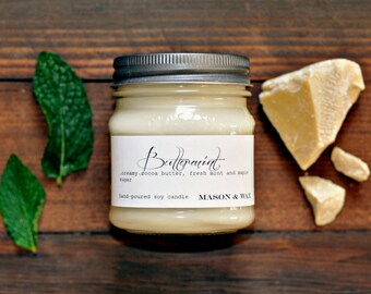 Buttermint Mason Jar Soy Candle | White Chocolate Mint Candle | Mint | Chocolate | Gift Boxed