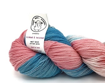 Handdyed 8020 corriedalenylon fingering weight yarn Grape Fizz