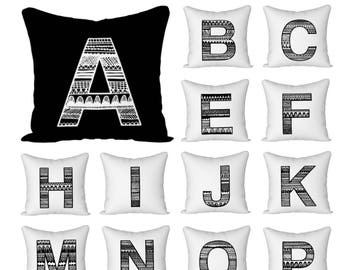 Monogram pillow, Personalized, Scandinavian print, Black and white, Canvas pillow, Letter pillow, Alphabet pillow, Initial pillow, 18x18
